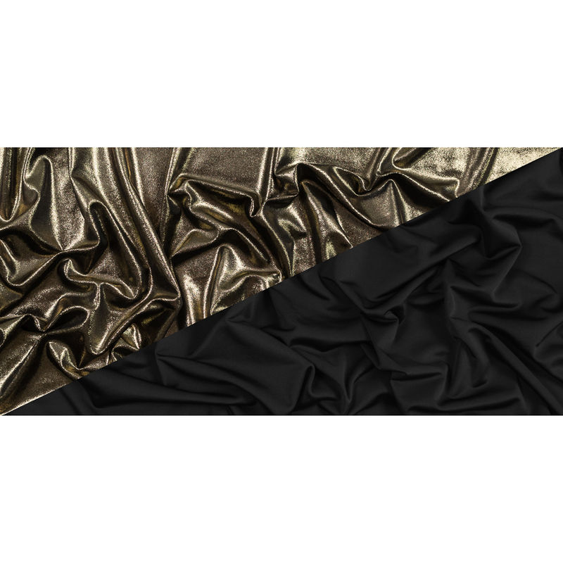 Black Stretch Velour with All-Over Gold Foil - Full