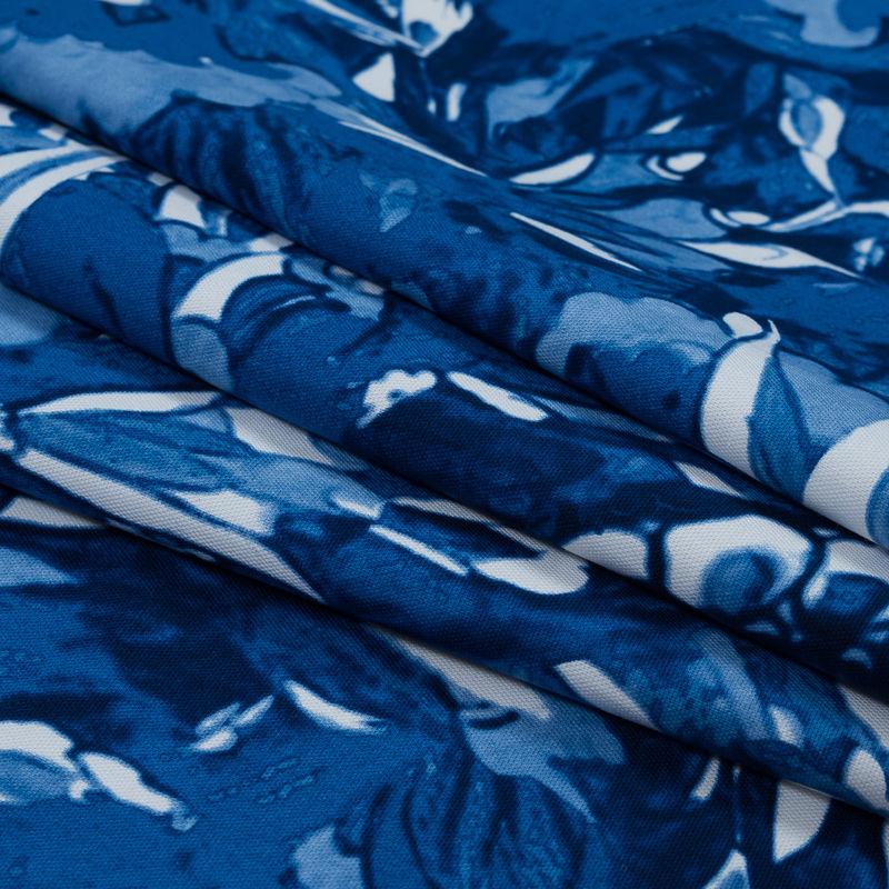 Oscar de la Renta Blue Floral Printed Stretch Cotton Canvas - Folded