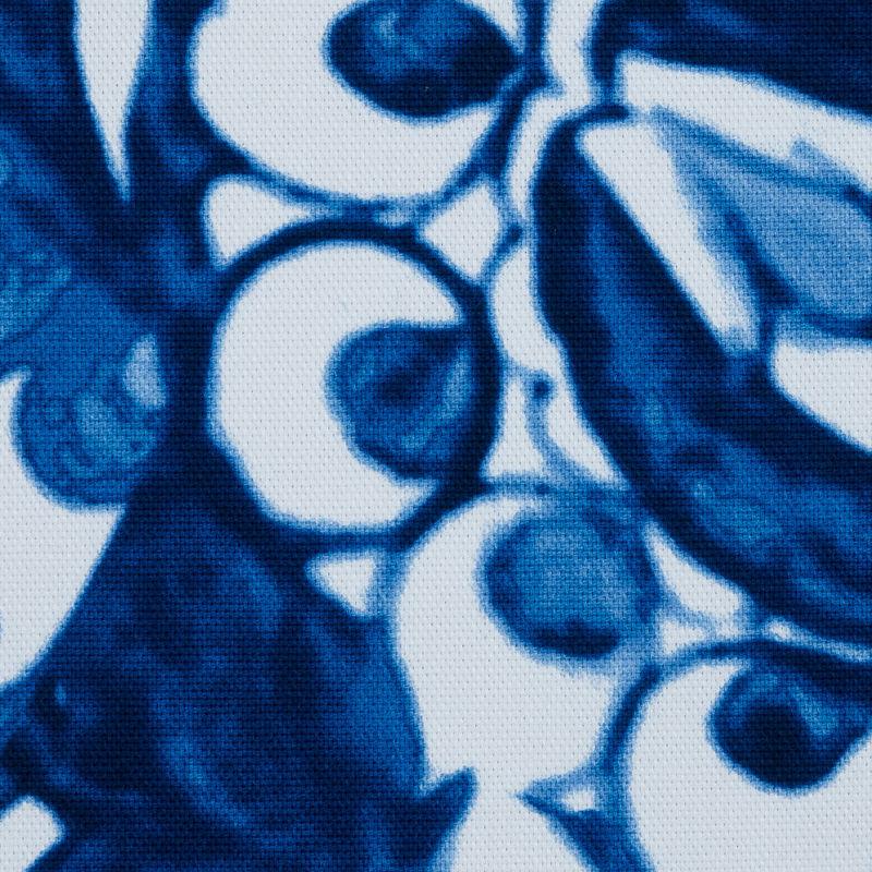Oscar de la Renta Blue Floral Printed Stretch Cotton Canvas - Detail