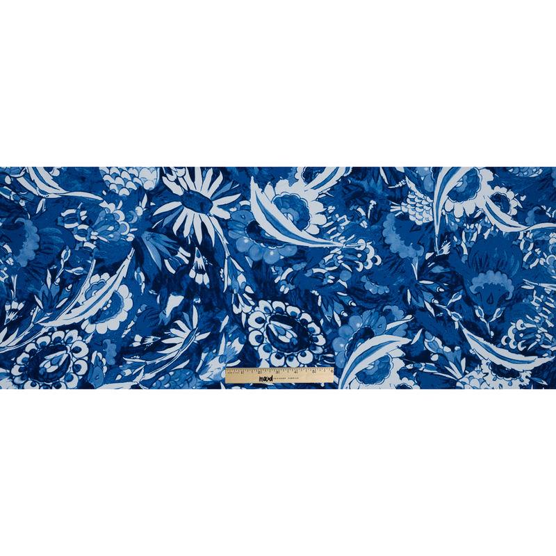 Oscar de la Renta Blue Floral Printed Stretch Cotton Canvas - Full