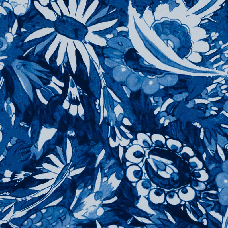 Oscar de la Renta Blue Floral Printed Stretch Cotton Canvas