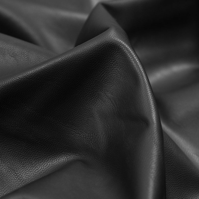 Black Stretch Faux Suede Backed Faux Leather - Detail