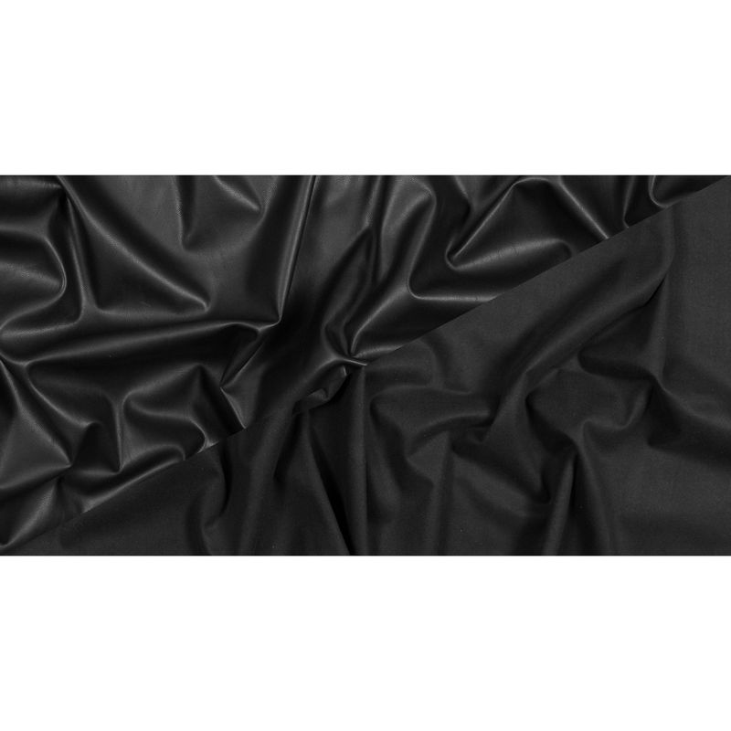 Black Stretch Faux Suede Backed Faux Leather - Full