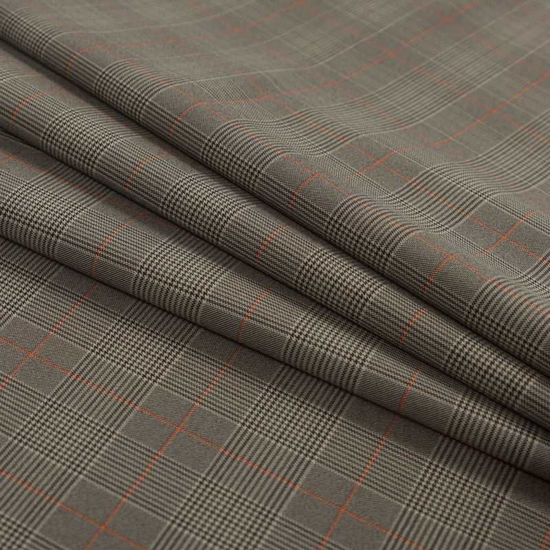 Taupe and Orange Glen Plaid Stretch Polyester Suiting - Folded