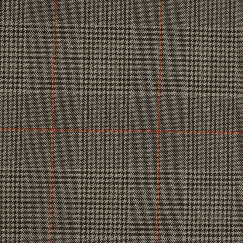 Taupe and Orange Glen Plaid Stretch Polyester Suiting - Detail