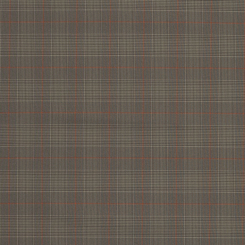 Taupe and Orange Glen Plaid Stretch Polyester Suiting