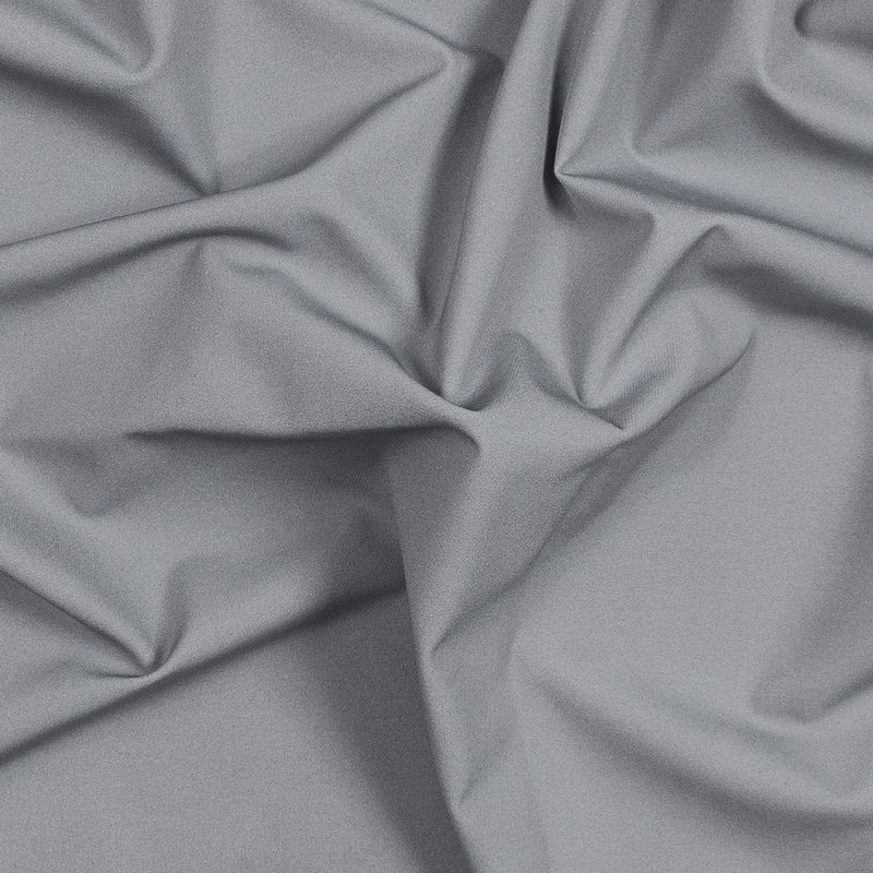 Cool Gray Stretch Polyester Twill