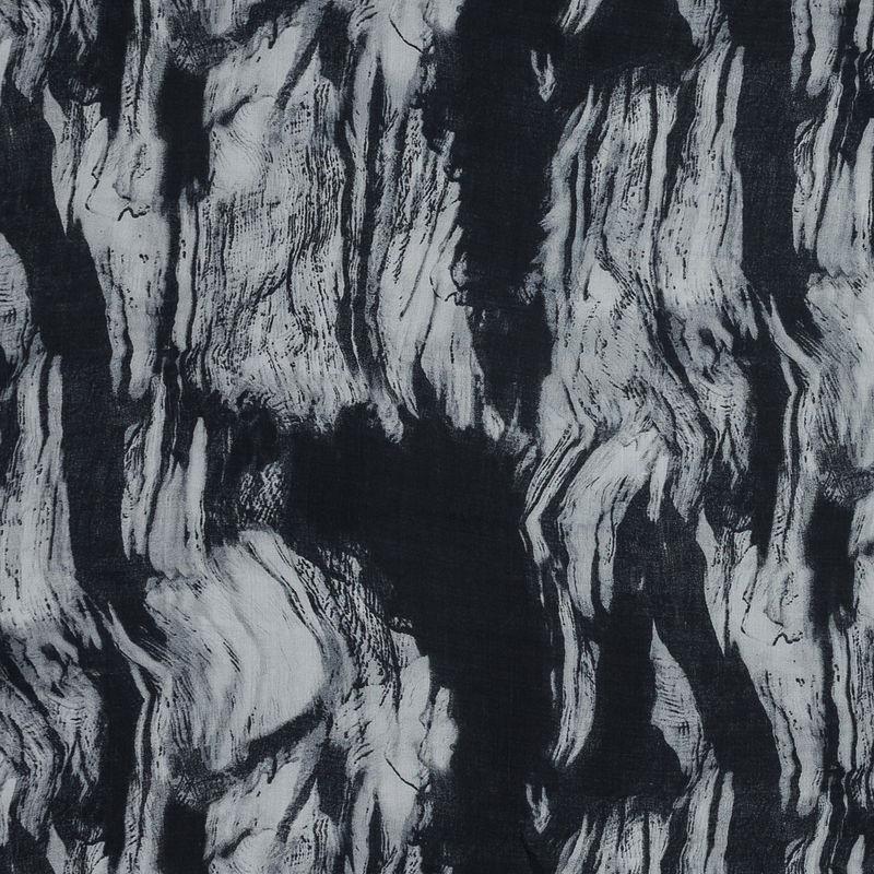 Black and White Abstract Silk Chiffon