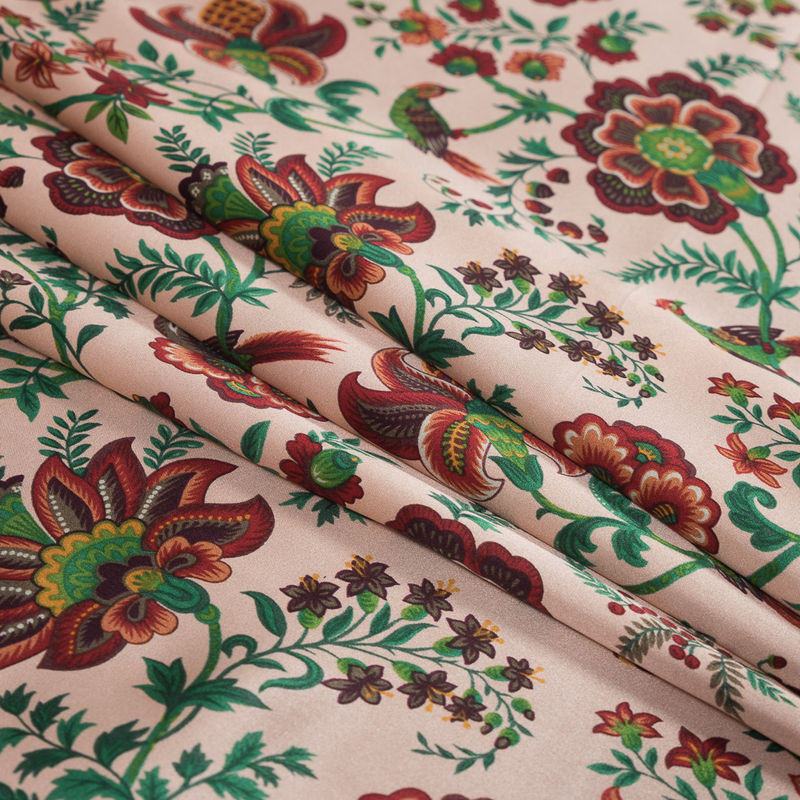 Salmon, Red and Green Floral Printed Silk Charmeuse - Folded