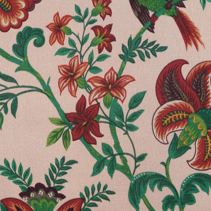 Salmon, Red and Green Floral Printed Silk Charmeuse - Detail