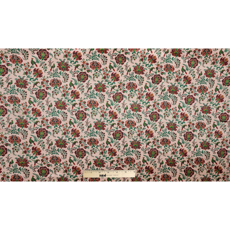 Salmon, Red and Green Floral Printed Silk Charmeuse - Full