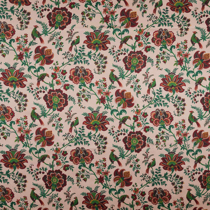 Salmon, Red and Green Floral Printed Silk Charmeuse