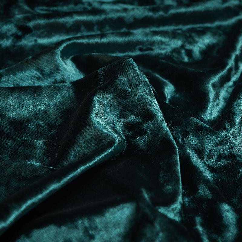 Hunter Green Stretch Crushed Velour - Detail