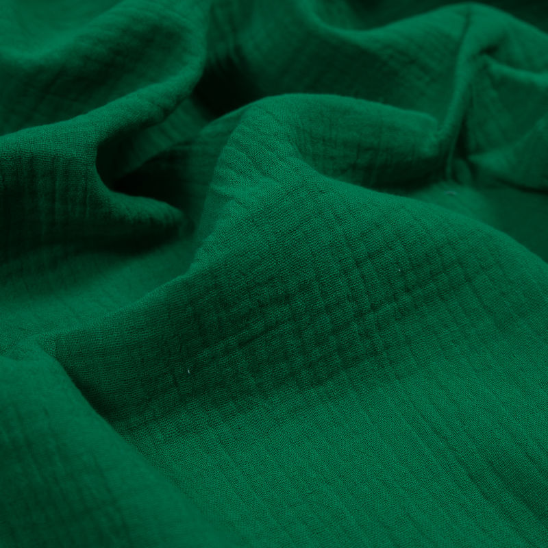 Kelly Green Double Cotton Gauze - Detail