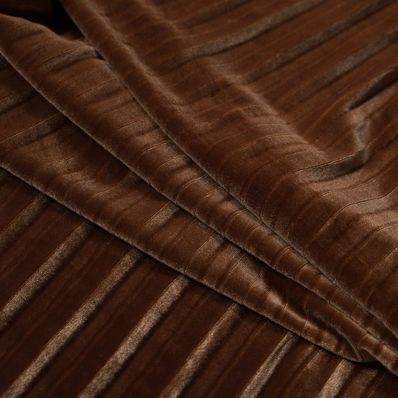 Adobe Brown Pleated Velour - Folded