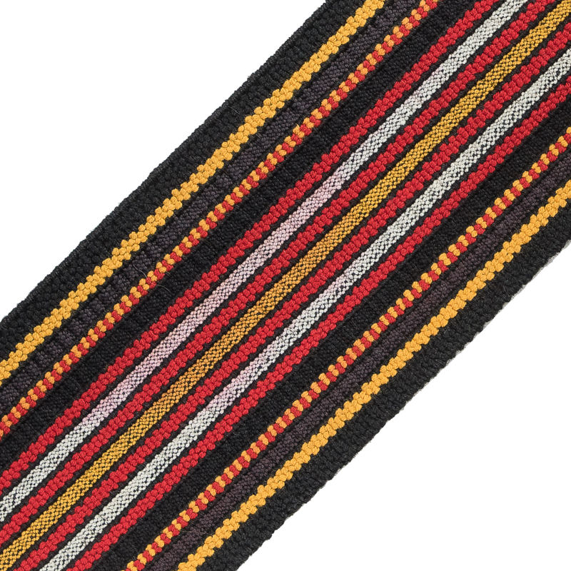 Brown, Red and Yellow Striped Smocked Elastic Trimming - 2.5 - Detail