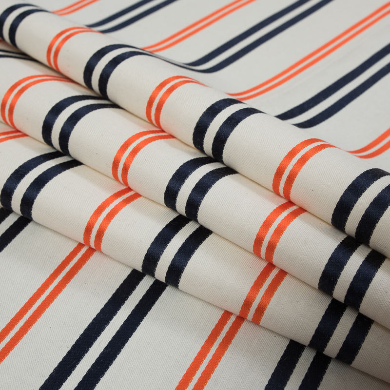 Pale Beige Cotton Twill with Orange and Navy Embroidered Stripes - Folded