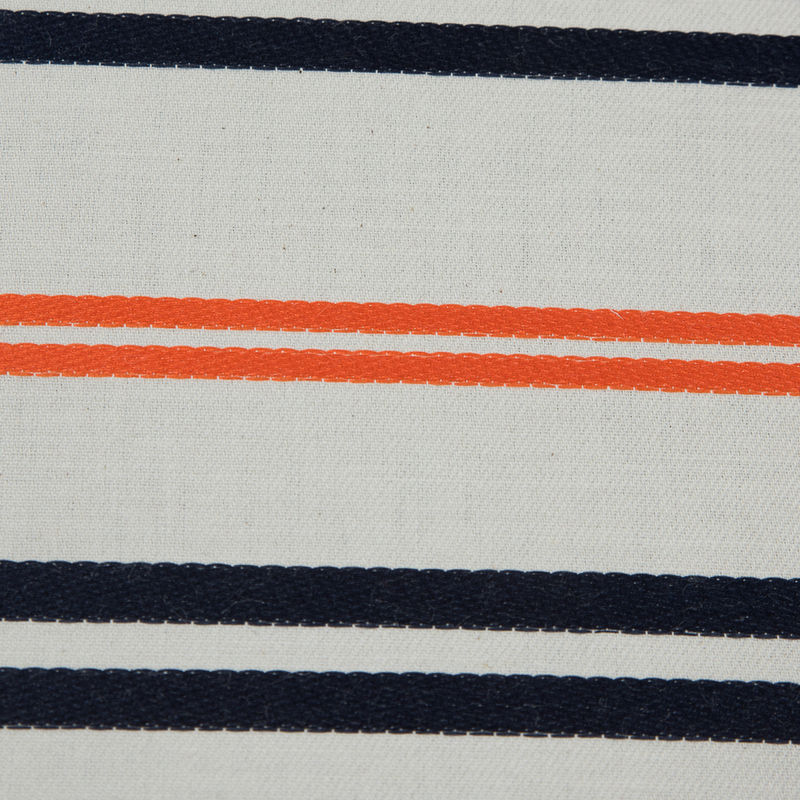 Pale Beige Cotton Twill with Orange and Navy Embroidered Stripes - Detail
