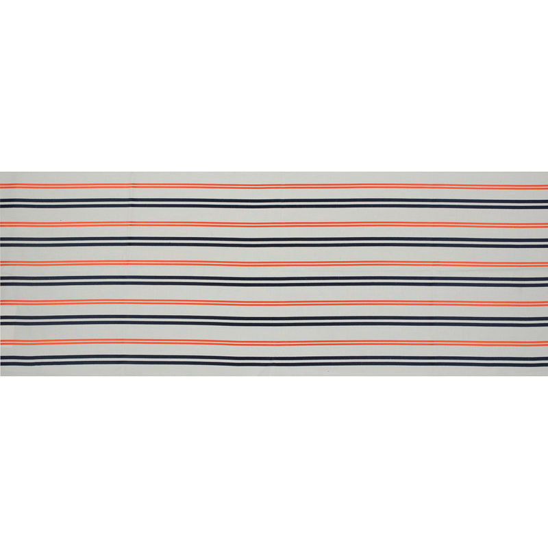 Pale Beige Cotton Twill with Orange and Navy Embroidered Stripes - Full