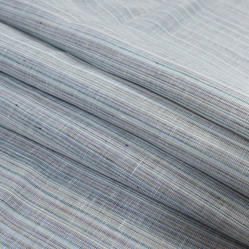 Blue, Gray and Green Pinstriped Linen Woven - Folded