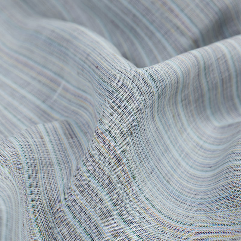 Blue, Gray and Green Pinstriped Linen Woven - Detail