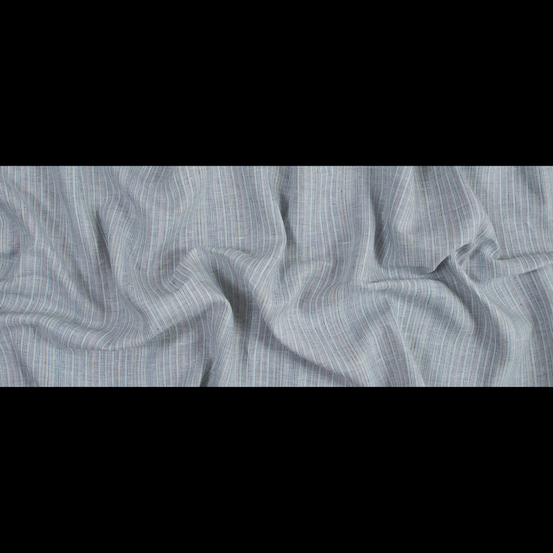 Blue, Gray and Green Pinstriped Linen Woven - Full