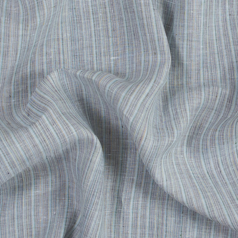 Blue, Gray and Green Pinstriped Linen Woven