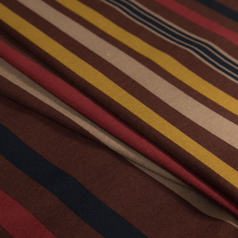 Italian Mustard, Brown and Beige Barcode Striped Printed Jersey - Folded