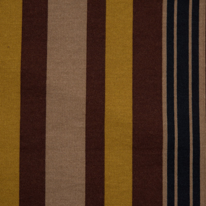 Italian Mustard, Brown and Beige Barcode Striped Printed Jersey - Detail