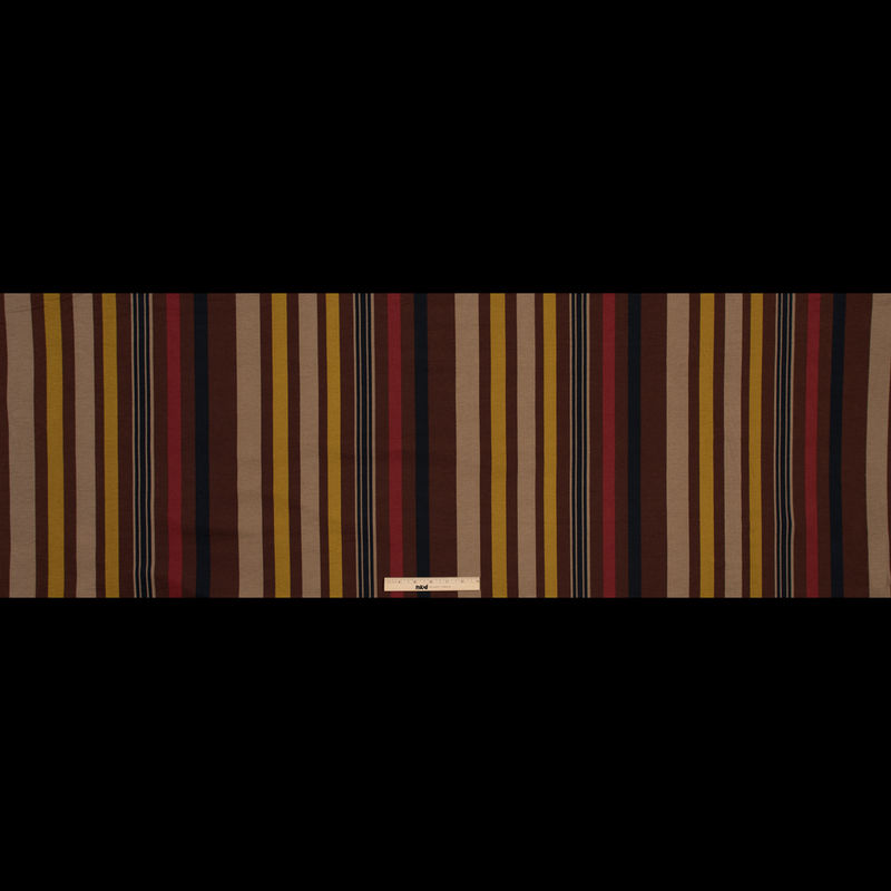 Italian Mustard, Brown and Beige Barcode Striped Printed Jersey - Full