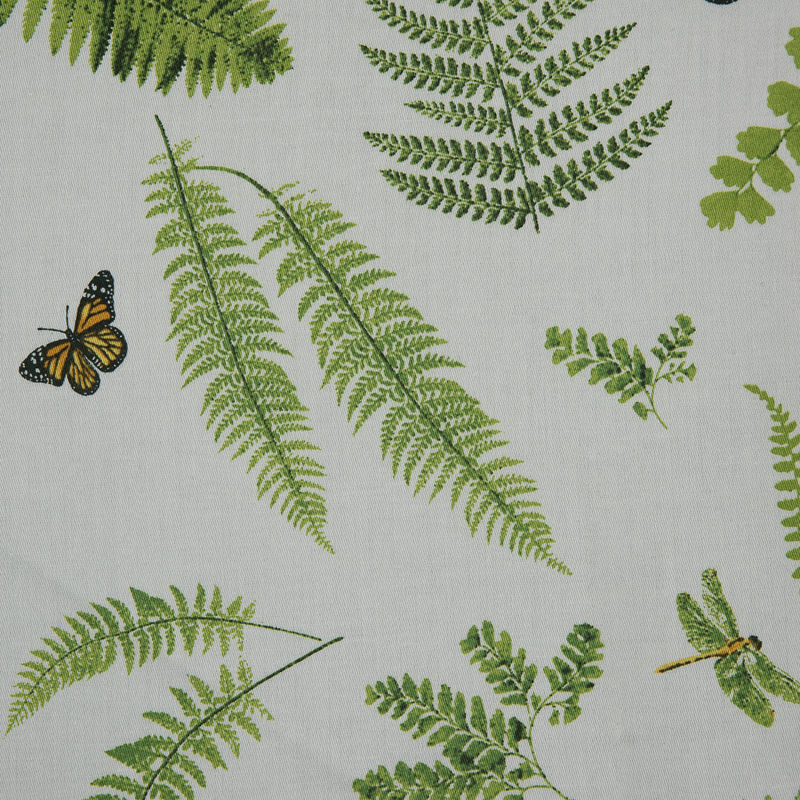 Green Butterfly and Ferns Cotton Twill - Detail