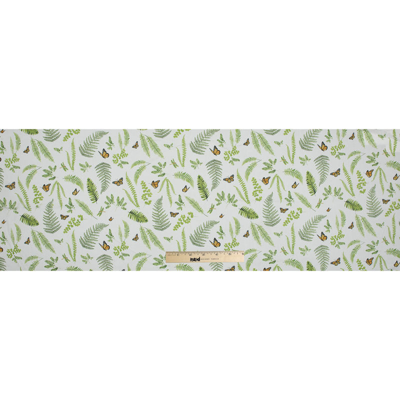 Green Butterfly and Ferns Cotton Twill - Full