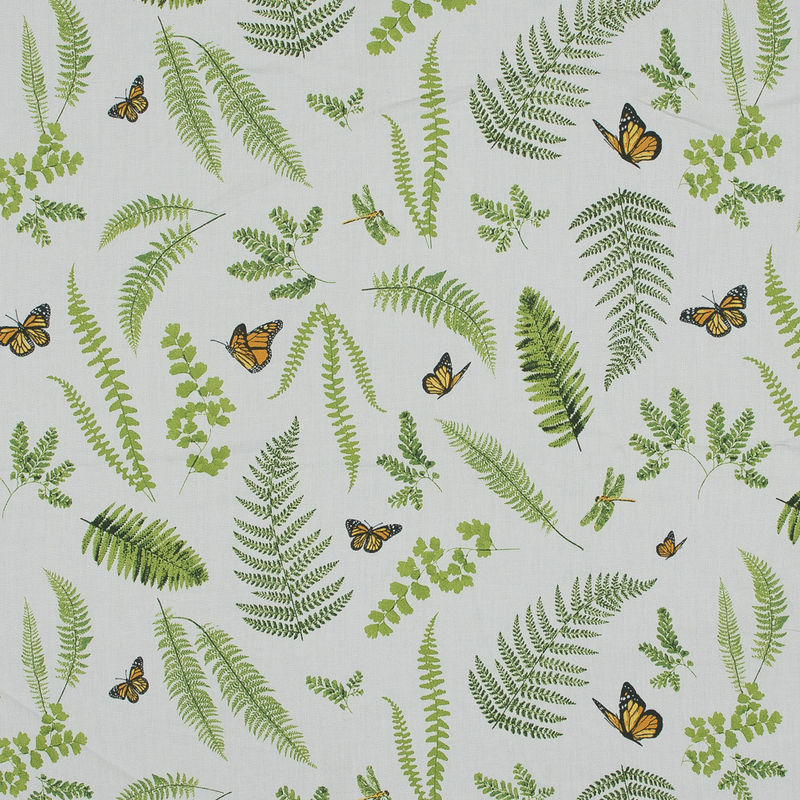 Green Butterfly and Ferns Cotton Twill