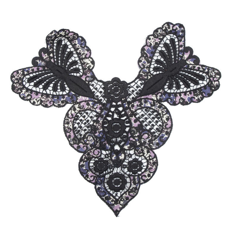 """Black and Purple Floral Printed Embroidered Applique - 10"""" x 9.75"""""""