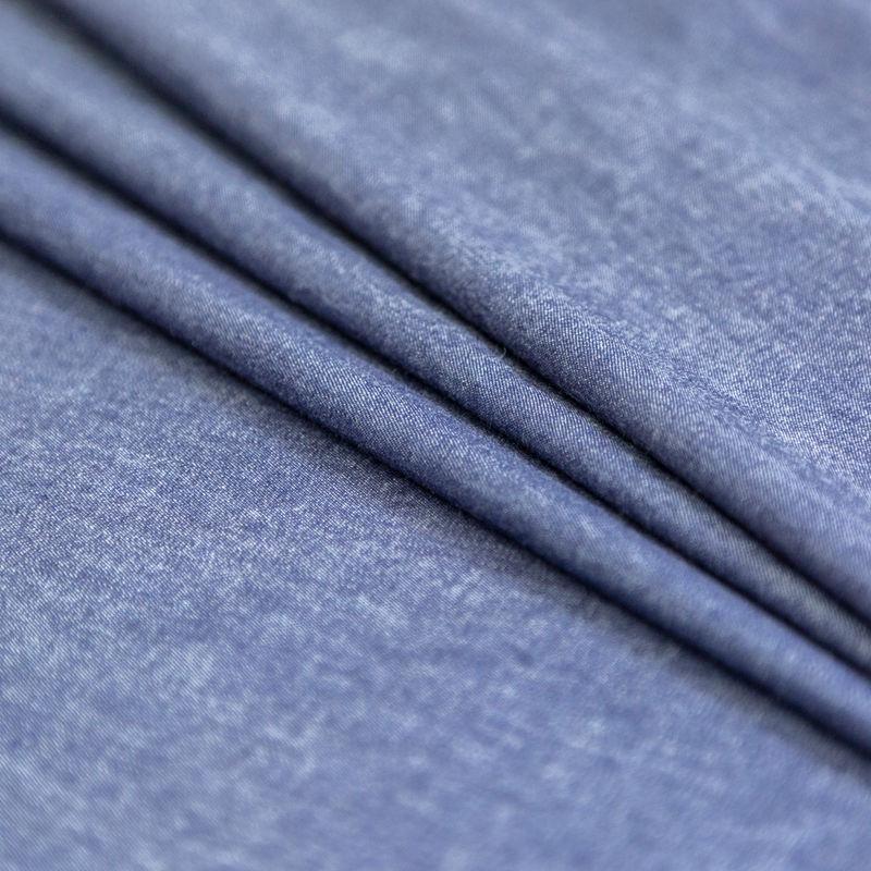 Light Indigo Washed Top-Weight Cotton Denim - Folded