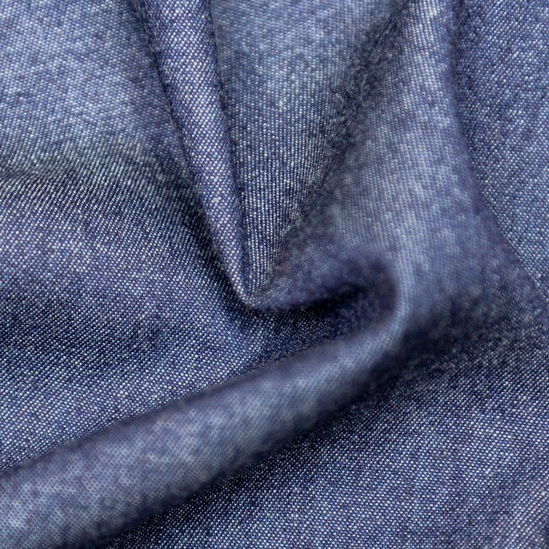 Light Indigo Washed Top-Weight Cotton Denim - Detail