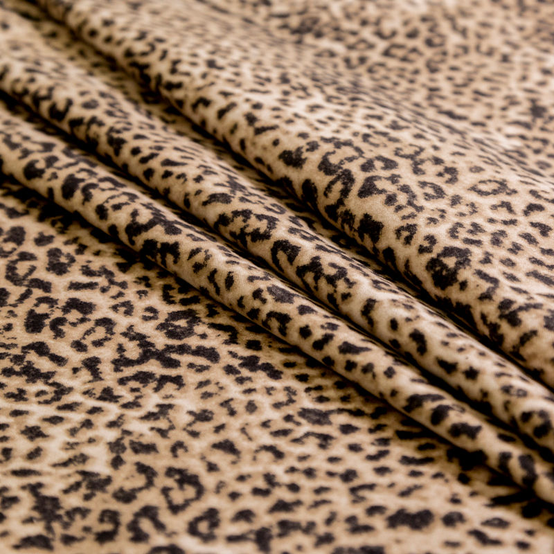 Beige Leopard Printed Brushed Cotton Twill - Folded