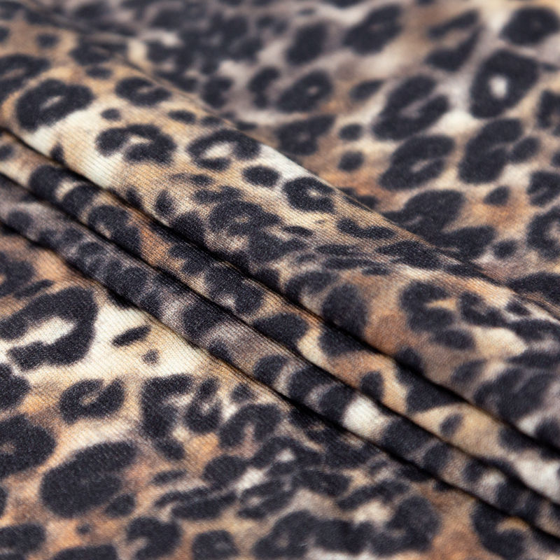 Italian Brown and Black Leopard Printed Rayon Jersey - Folded
