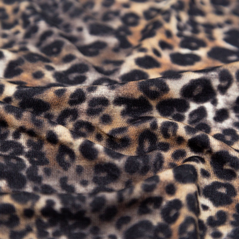 Italian Brown and Black Leopard Printed Rayon Jersey - Detail