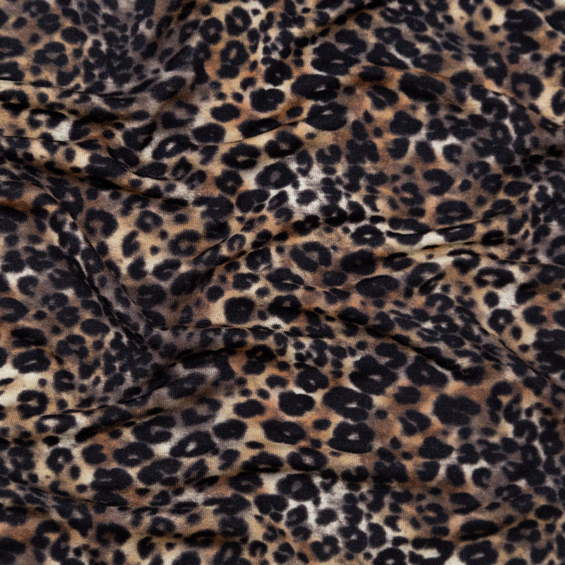 Italian Brown and Black Leopard Printed Rayon Jersey