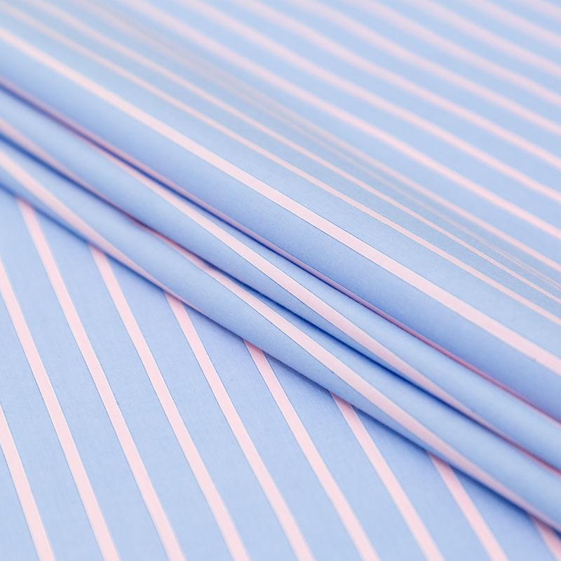 Rag & Bone Powder Blue and Baby Pink Striped Cotton Poplin - Folded