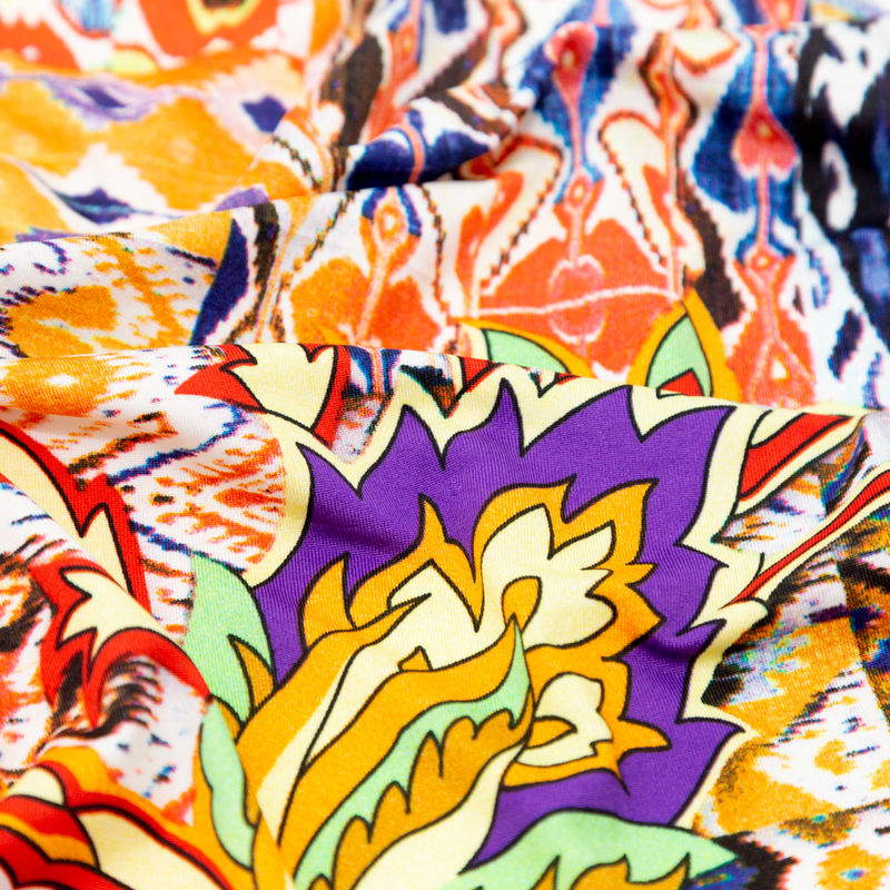 Orange Abstract Ikat and Floral Stretch Polyester Jersey - Detail