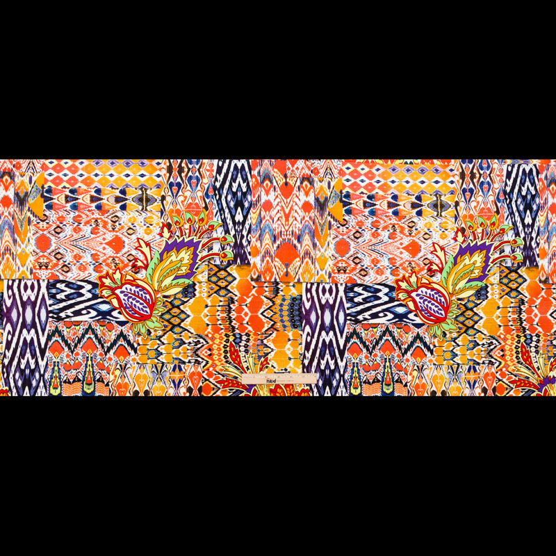 Orange Abstract Ikat and Floral Stretch Polyester Jersey - Full