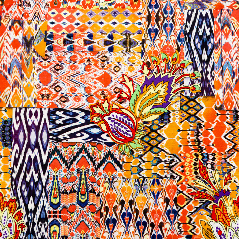Orange Abstract Ikat and Floral Stretch Polyester Jersey