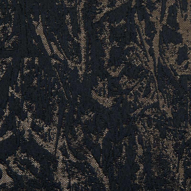 British Black Abstract Brocade - Detail