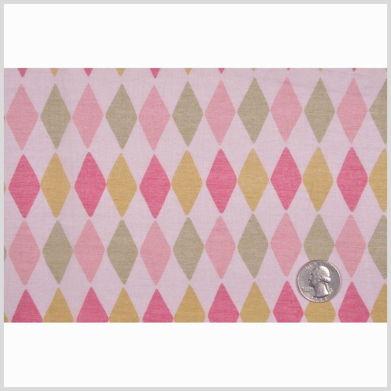 Pink and Green Diamond-Print Cotton Batiste - Full