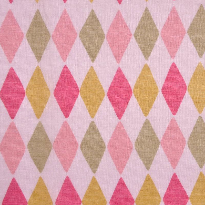 Pink and Green Diamond-Print Cotton Batiste