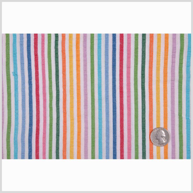 Multicolored Striped Cotton Seersucker - Full