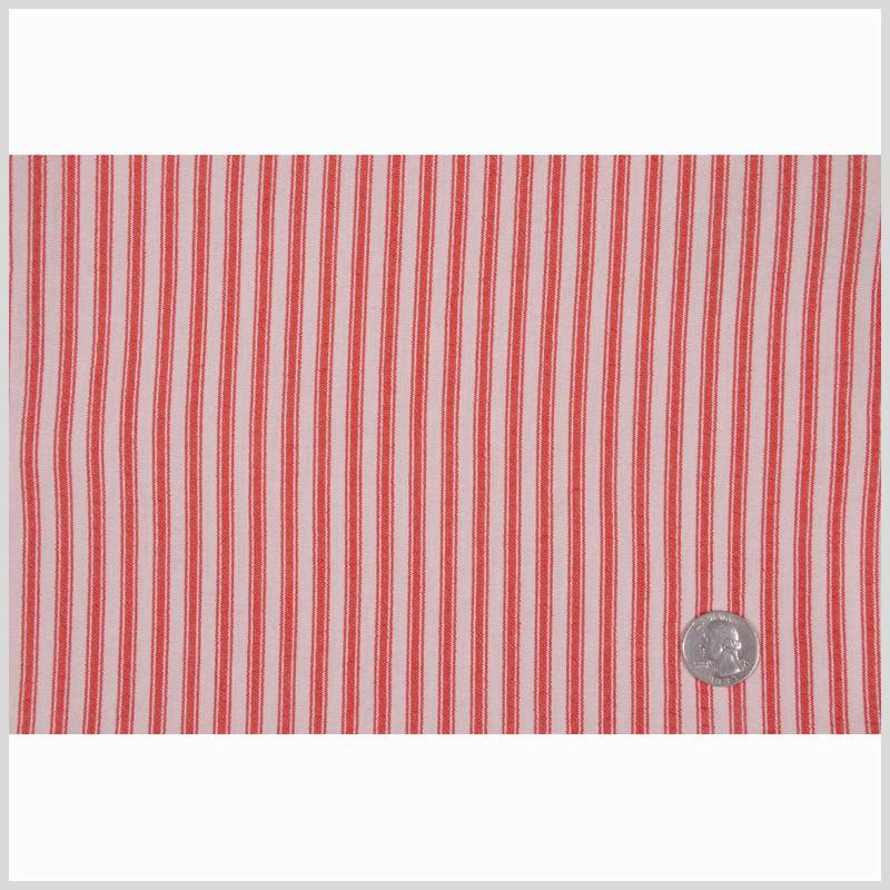Red Ticking Stripe Cotton Seersucker - Full