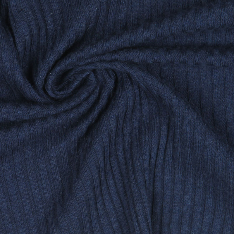 Antique Dark Blue Solid Rib Knit & Tubular - Detail